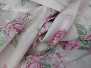 Simply Shabby Chic Pink Voile Cabbage Rose Floral Panels Drapes - Pair