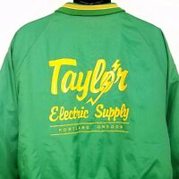 Mens Satin Bomber Jacket Vintage 80s 90s Taylor Electrical Supply Made In USA XL