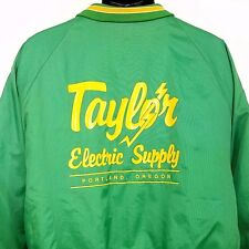 Satin Bomber Jacket Vtg 80s 90s Taylor Electrical Supply Made In USA Mens XL