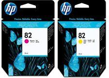 HP 500 510 Designjet No.82 Magenta CH567A & Yellow CH568A Ink (28ml) bundle
