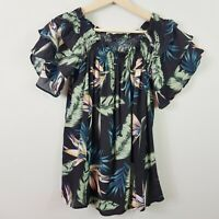 [ DECJUBA ] Womens Palm Leaves Tropical Print Blouse Top | Size S or AU 10