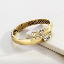"Silpada ""K+R"" Line Cobra Hinge Cuff Bracelet KRB0077 Swarovski crystal NWT"