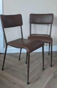 2 Old School Stacking Chairs Vintage/Retro, Leatherette/Metal Tapered Legs *VGC*