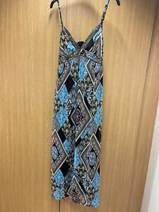 Ladies Blue/Pink & Black Strappy Dress From SELECT UK 14 VGC
