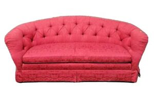 Baker Furniture Tuffed Upholstered Sofa with High End Red Damask Fabric