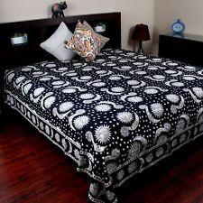 Handmade 100% Cotton Celestial Sun Moon Star Tapestry Coverlet Black White Twin