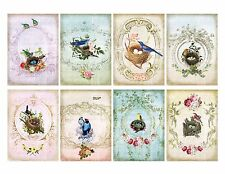 8 Shabby Chic Birds Nest ATC Cards Hang Tags - Scrapbooking, Paper Crafts (196)