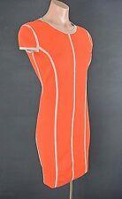 NWT Rachel Roy Dress Body Con XS Orange Fitted Cap Sleeve Knit Stretch Work*1008