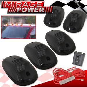 Universal 5Pc 9 Led Amber Smoke Upper Cab Roof Marker Drl Parking Running Lights