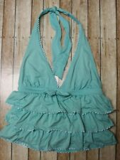 Juicy Couture Beach Royalty Plunge Halter Layered Ruffle Tankini Swim Top Small