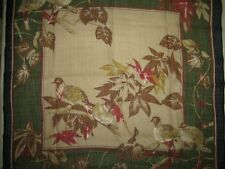 "WILD BIRDS jungle LEAVES brown GREEN blue red floral feathers 30"" WOOL SCARF"