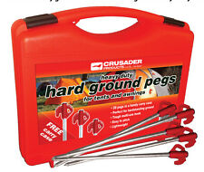 40 x Crusader Hard Ground Tents & Awnings Pegs - Red Tops With Carry Case