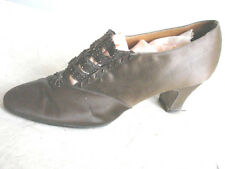 Vintage 20s Shoes Brown Satin Straps Beaded 6 Gc Cocktail Heels Vgc