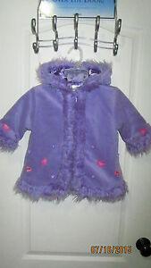 Baby Toddler 18M The Children's Place Purple Full Zip Hoodie Coat Jacket Flowers