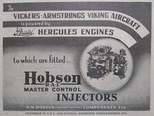 10/1945 PUB HOBSON BRISTOL HERCULES ENGINES MASTER CONTROL INJECTOR VIKING AD