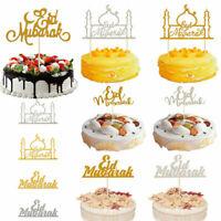 1x Eid Mubarak Gold Glitter Cake Topper Ramadan Home Party Decoration Hajj Decor