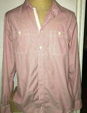 Ben Sherman Men's Button Up Shirt Size XL Long Sleeve Cotton Red & White Stripes