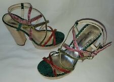 Womens lulu townsend green/pink/red snake skin print platform shoes sz 8.5 M