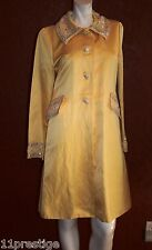 BIYA LOUNGE COAT YELLOW BEADS DETAIL LINEN/RAYON BLEND  SIZE S