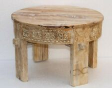 Indian Wooden Round carving Grinder Table ,Antique Coffee Table,Bedside stool.