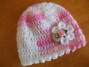 HANDCROCHETED HAT..TO FIT 0-3 MONTHS  SELF PATTERNING..