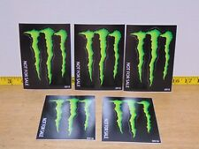 "Set Of 5 Monster Energy Green M Claw Decals 5 1/4"" x 3 3/4"" New"