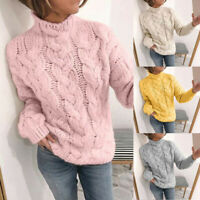 Women Cable Knit Jumper Sweater Pullover Winter Turtleneck Knitwear Tops New20tb