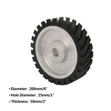 "200mm 8 Inch Rubber Serrated Belt Grinder Wheel Polishing Contact Wheel 1"" Hole"