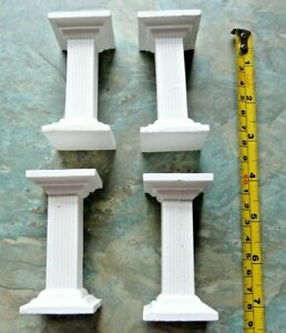 4 x SQUARE WHITE PLASTER CAKE TIER PILLARS