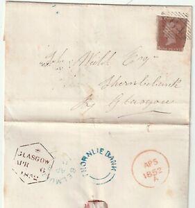 1852 IRELAND =64= NUMERAL BELMULLET & BLUE UDC THORNLIEBANK (GLASGOW) ARRIVAL