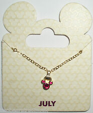 Disney Parks Goldtone Birthstone Necklace - Mickey Mouse: July (Red Ruby)
