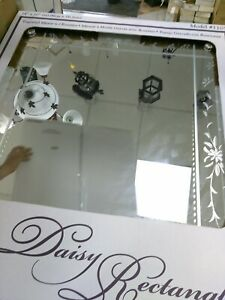 """24X30""""  DAISY RECTANGLE  MIRROR   MODEL 1105  ENGRAVED MIRROR W/ ROSETTES(#17A"""