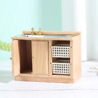 1:12 Wooden Dollhouse Furniture Basin Sink Cupboard Cupboard Cabi YM6K