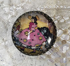 "MARY HAD A LITTLE LAMB 1 1/4""  Glass Dome BUTTON Brass Vintage Nursery Rhyme Art"