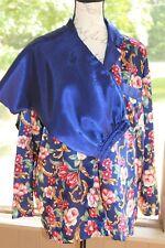 ff287eb7742 Cacique Size Medium Lingerie Pajama Set Blue Floral Top Solid Pants Vintage  (BH)