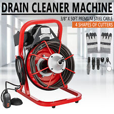 Commercial 38 Electric Drain Auger Cleaner Machine 50ft Sewer Snake With Cutter