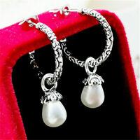 Vintage 925 Pearl Silver Earrings Women Fashion Ear Hook Dangle Drop Jewelry UK