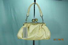 Kenneth Cole Reaction Handbag Baquette Cream Golden Mushroom Large Clasp NWT