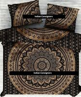 Black Gold Queen Duvet Cover With 2 Pillow Case Perfect Royal Indian Mandala Bed