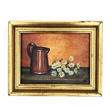 "Vtg Mini Oil Painting Still Life Daisies Flowers 4.75"" Framed Signed N. Reeves"
