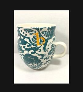 Anthropologie Homegrown Mug Green Koi Coffee Cup Initial B NEW Unused Ships Fast