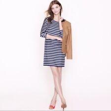 J. Crew Jules Shift Dress Blue Red White Striped 100% Silk  Size 2
