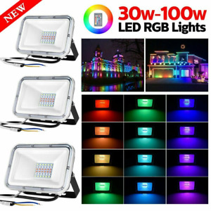 RGB LED Floodlight Colour Changing Floodlight Outdoor Security Garden Wall Light