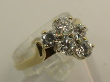 9ct Solid White & Yellow Gold & 5 CZ Cluster Dress Ring size O½