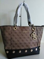 Guess brown / black studded large Tote bag + charm !!