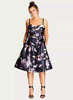 Ex EVANS City Chic Dark Romance Floral Skater Dress, Size 14 16 18 RRP £98