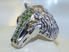 GENUINE 0.98ct! Tsavorite Garnet & Sapphire, Horse Head Ring, Silver 925!