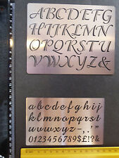 Steel/stencil/Upper/Lower Case/Script/Alphabet/Emboss/Small/Medium /SET OF 2