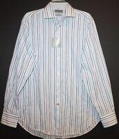 Thomas Dean Mens Size M Blue Striped Button-Front Dress Shirt NWT $110 Size M