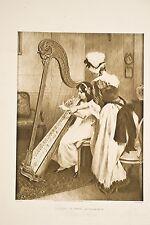 Musique La leçon de Harpe tableau Philippar QUINET Salon 1913 Platinogravure XX°